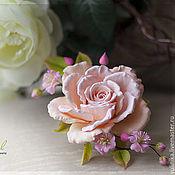 Украшения ручной работы. Ярмарка Мастеров - ручная работа Брошь с чайной розой. Handmade.