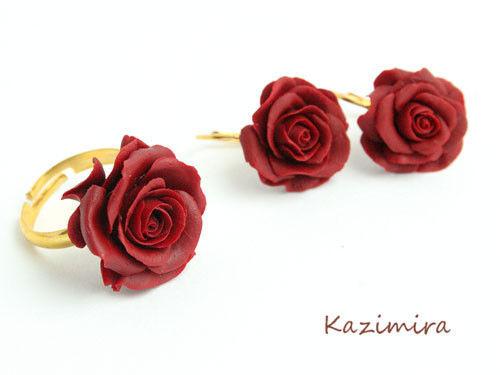 Комплекты украшений ручной работы. Ярмарка Мастеров - ручная работа. Купить Комплект роз. Handmade. Искусственные цветы, серьги с цветами