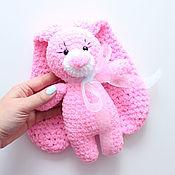 Мягкие игрушки ручной работы. Ярмарка Мастеров - ручная работа Игрушка Зайка розовая. Handmade.