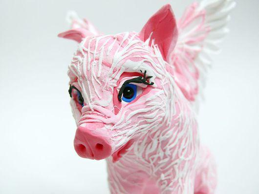 """Игрушки животные, ручной работы. Ярмарка Мастеров - ручная работа. Купить фигурка """"Розовая свинка"""" (пластик). Handmade. Свинка, розовый"""