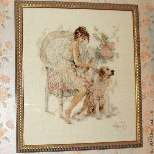 """Люди, ручной работы. Ярмарка Мастеров - ручная работа. Купить картина """"Девушка с собакой"""". Handmade. Вышивка, картина в подарок"""