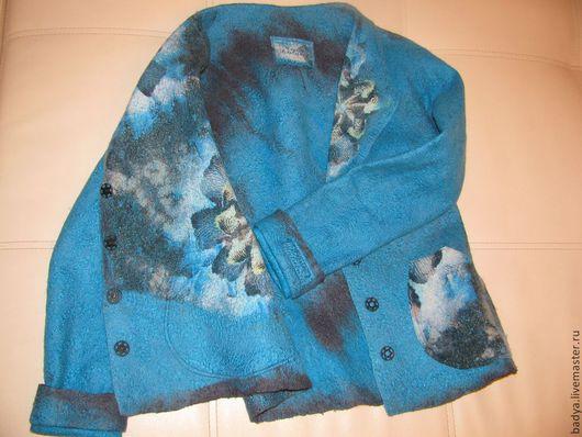 Пиджаки, жакеты ручной работы. Ярмарка Мастеров - ручная работа. Купить Авторский валяный жакет-пиджак. Handmade. Тёмно-бирюзовый