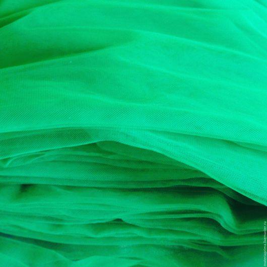 Шитье ручной работы. Ярмарка Мастеров - ручная работа. Купить фатин евро матовый 3-метровый зеленый. Handmade.