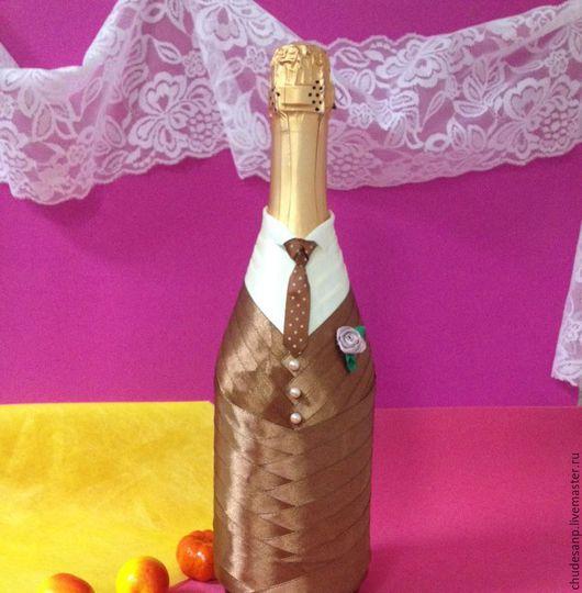 """Свадебные аксессуары ручной работы. Ярмарка Мастеров - ручная работа. Купить Свадебные бутылки """"Ваниль в шоколаде"""". Handmade. Коричневый"""