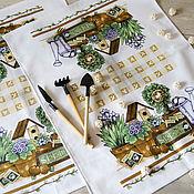 Для дома и интерьера ручной работы. Ярмарка Мастеров - ручная работа Три вафельных полотенца Мои любимые цветы. Handmade.