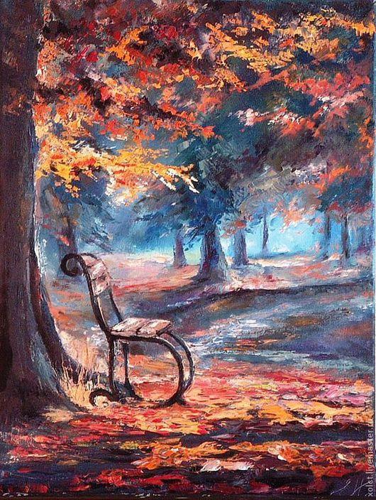 Город ручной работы. Ярмарка Мастеров - ручная работа. Купить Осень в парке. Handmade. Картина, парк, масло
