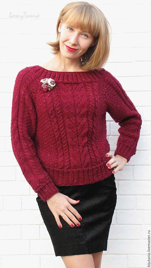 """Кофты и свитера ручной работы. Ярмарка Мастеров - ручная работа. Купить Пуловер """"Пьяная вишня"""". Handmade. Красный, вязание спицами"""