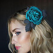 Украшения handmade. Livemaster - original item Brooch-clip leather turquoise rose. Decoration leather.. Handmade.