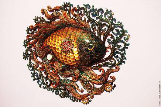 Элементы интерьера ручной работы. Ярмарка Мастеров - ручная работа. Купить Золотая рыбка с цветком папоротника в солнечном круге. Handmade.