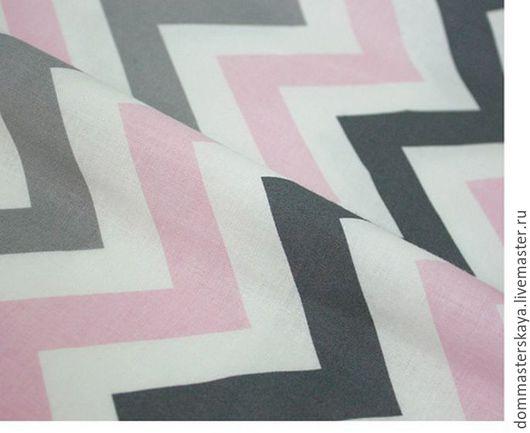 Шитье ручной работы. Ярмарка Мастеров - ручная работа. Купить 100% хлопок, Корея, misty pink grey шеврон. Handmade.