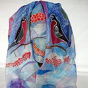"""Аксессуары ручной работы. Ярмарка Мастеров - ручная работа Платок шелковый, эксельсиор, """"Снегири"""". Handmade."""