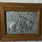 Винтаж ручной работы. Ярмарка Мастеров - ручная работа Панно из олова Зайцы Германия. Handmade.
