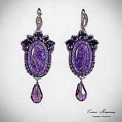 Украшения handmade. Livemaster - original item Purple earrings with charoite. Handmade.