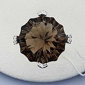 Украшения handmade. Livemaster - original item Silver ring with 20 mm rauchtopaz and cubic zirconia. Handmade.