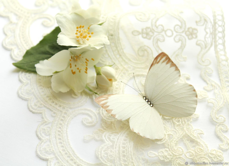 Брошка Белая Бабочка / Брошь из шёлка / Подарок подруге, Подарки, Химки,  Фото №1