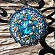 """Броши ручной работы. Ярмарка Мастеров - ручная работа. Купить Брошь """" Blue Sky """" бисер японский, кристаллы Сваровски. Handmade."""
