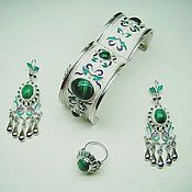 Украшения handmade. Livemaster - original item Anush.  Earrings, bracelet and ring made of silver with malachite in enamel. Handmade.