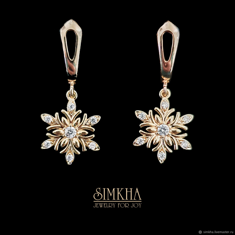 Gold plated earrings with zircons, Earrings, Netanya,  Фото №1