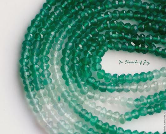 Для украшений ручной работы. Ярмарка Мастеров - ручная работа. Купить Зеленый оникс градиент граненый рондель 3,2-3,8мм. Handmade.