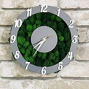 Для дома и интерьера handmade. Livemaster - original item Clock made of stabilized moss d30 cm. Handmade.
