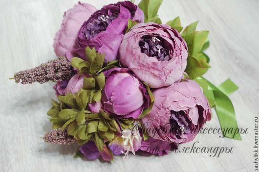 Свадебные цветы ручной работы. Ярмарка Мастеров - ручная работа. Купить Дубль букеты, Пионы. Handmade. Розовый, розы, букет