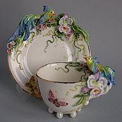 """Чайные пары ручной работы. Ярмарка Мастеров - ручная работа """"Синие птицы"""" чайная пара. Handmade."""