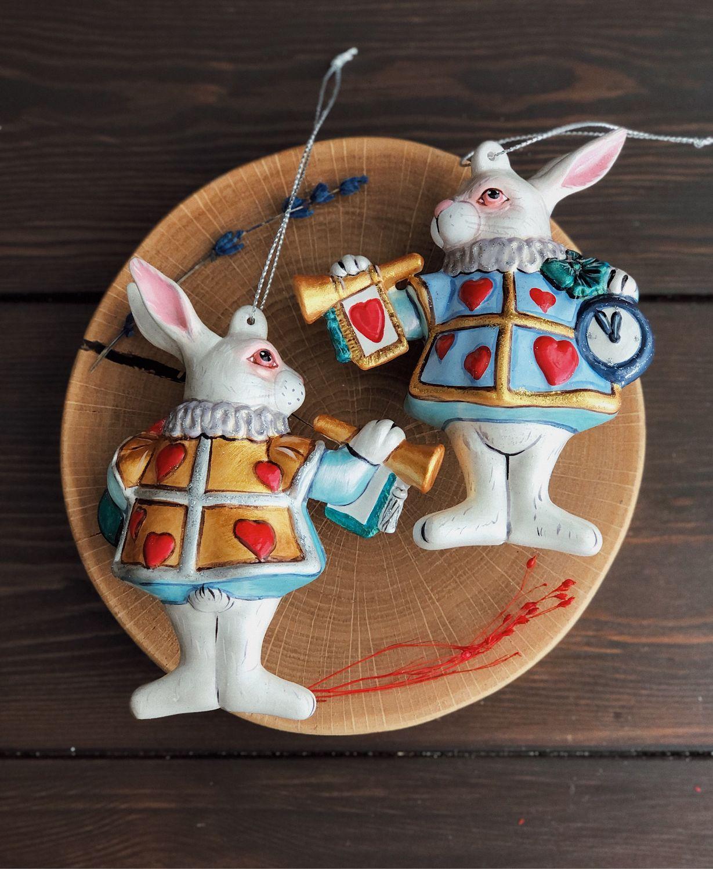 Белый Кролик из «Приключения Алисы в стране чудес»  , 12 см, Елочные игрушки, Москва,  Фото №1