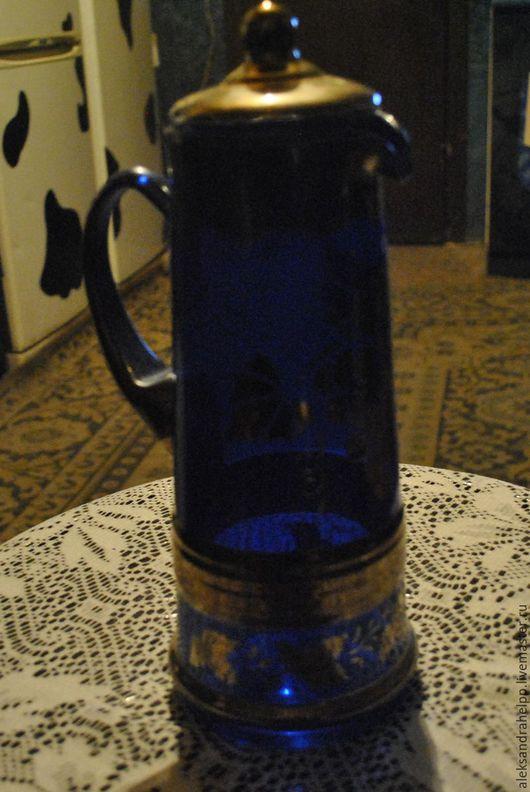 Винтажная посуда. Ярмарка Мастеров - ручная работа. Купить Графин синее стекло с рисунком. Handmade. Тёмно-синий, кухонный интерьер