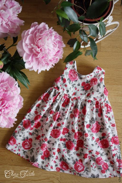 Одежда для девочек, ручной работы. Ярмарка Мастеров - ручная работа. Купить Платье на девочку №2 (красные цветы на белом фоне). Handmade.