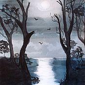 """Картины и панно ручной работы. Ярмарка Мастеров - ручная работа Картина акварелью """"Ночной морской"""". Handmade."""