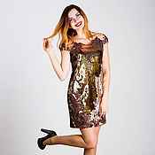 Одежда handmade. Livemaster - original item Bronze-gold dress from bilateral sequins. Handmade.