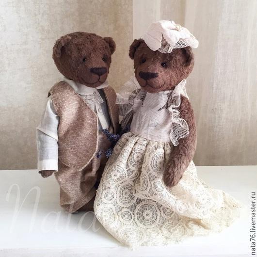 Мишки Тедди ручной работы. Ярмарка Мастеров - ручная работа. Купить Свадебные мишки тедди. Handmade. Бежевый, подарок на годовщину