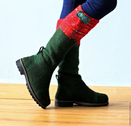 """Обувь ручной работы. Ярмарка Мастеров - ручная работа. Купить Сапоги+палантин в комплекте """"Scotland"""".. Handmade. Тёмно-зелёный, палантин валяный"""