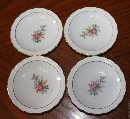 Винтажная посуда. Ярмарка Мастеров - ручная работа. Купить Набор из шести розеток,украшенных цветами, Winterling, Германия. Handmade. Разноцветный