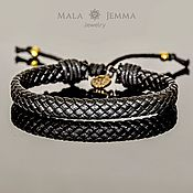Украшения handmade. Livemaster - original item Braided Leather black bracelet silver or gold inserts. Handmade.