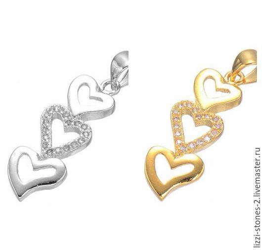 Подвеска 3 сердца серебро и золото (Milano) Евгения (Lizzi-stones-2)