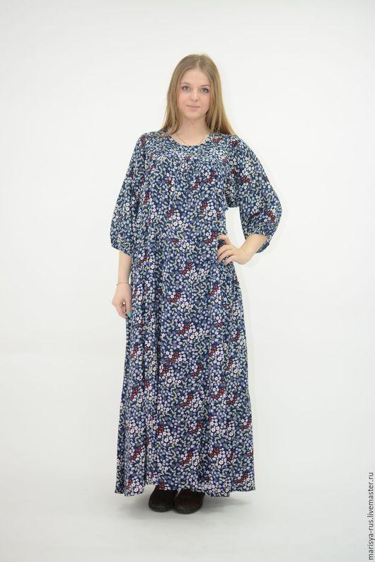 """Платья ручной работы. Ярмарка Мастеров - ручная работа. Купить Платье классика """"Листочки"""" синий. Handmade. Тёмно-синий"""