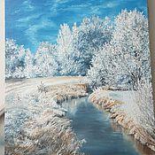 Картины ручной работы. Ярмарка Мастеров - ручная работа Картина маслом Зима над речкой. Handmade.