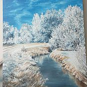 Картины и панно handmade. Livemaster - original item Oil painting Winter on the river. Handmade.