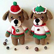 Мягкие игрушки ручной работы. Ярмарка Мастеров - ручная работа Вязаные игрушки собачки крючком, хлопок, Снежок и Мила. Handmade.