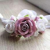 Свадебный салон ручной работы. Ярмарка Мастеров - ручная работа Браслет  с розами и фрезиями. Handmade.
