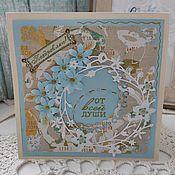 Открытки ручной работы. Ярмарка Мастеров - ручная работа Голубые цветы. Handmade.