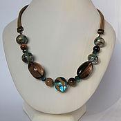 Necklace handmade. Livemaster - original item Necklace rauchtopas on leather cord Gift decoration copyright. Handmade.