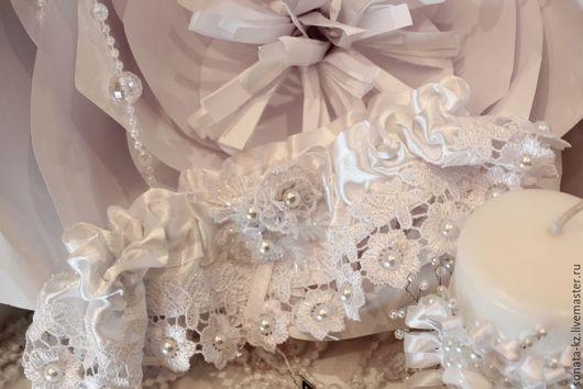 Одежда и аксессуары ручной работы. Ярмарка Мастеров-ручная работа.Купить Подвязку невесты `Королевская`.Handmade.Цвет-белый.