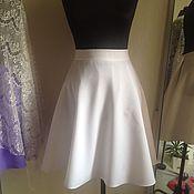Одежда ручной работы. Ярмарка Мастеров - ручная работа Белая летняя юбка клеш на подкладке. Handmade.
