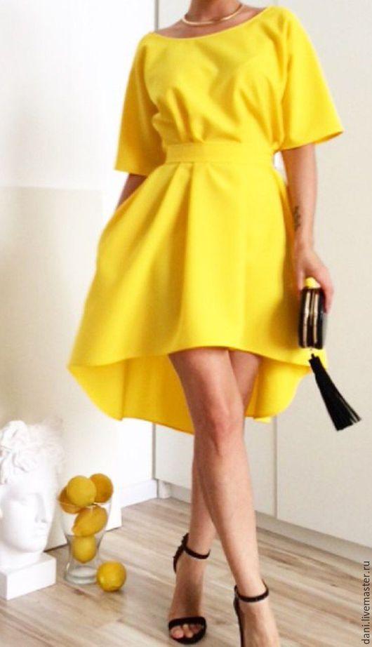 Платья ручной работы. Ярмарка Мастеров - ручная работа. Купить Платье асимметричное.. Handmade. Желтый, платье коктейльное