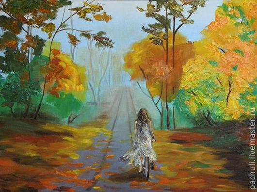 """Пейзаж ручной работы. Ярмарка Мастеров - ручная работа. Купить """"На велосипеде"""". Handmade. Желтый, осень, картина в подарок, романтика"""