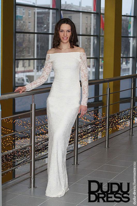 9f9492178cb Купить Белое свадебное гипюровое платье в Платья ручной работы. Белое  свадебное гипюровое платье в пол. Dudu-dress. Интернет ...