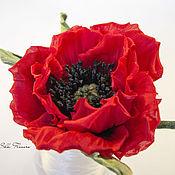 Flowers handmade. Livemaster - original item scarlet poppy silk. Handmade.