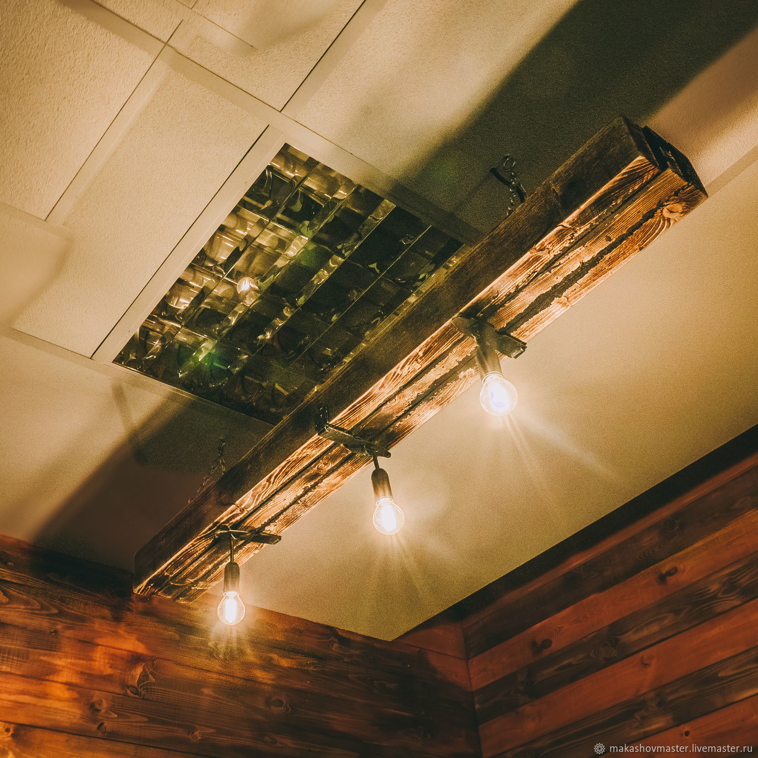 A loft style chandelier made of aged wood with three lamps, Chandeliers, Moscow,  Фото №1